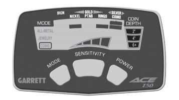 Carátula/Pantalla detector de metales Garrett ACE 150